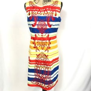 Tabitha Banded Totem Stripe Embroidered Dress